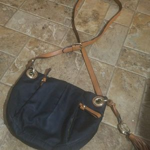 VINCE CAMUTO CANVAS AND LEATHER BLACK BAG..SMALL